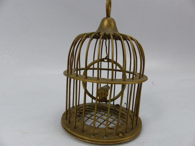 Brass bird in a cage on swinging hoop - Image 2 of 3