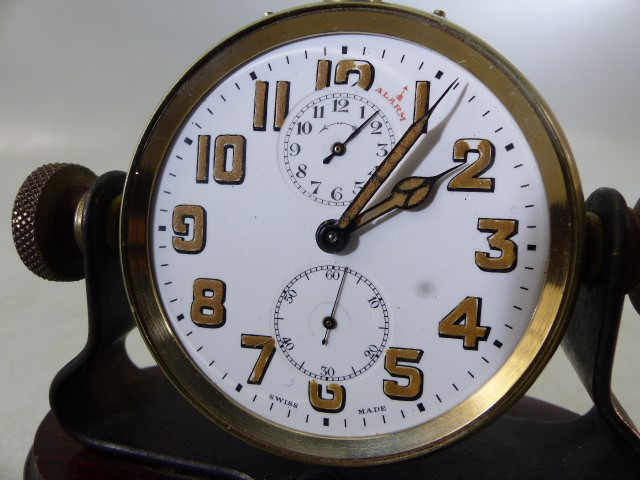 Swiss Made Pocket watch with Alarm on Mahogany base (no glass) A/F - Image 5 of 5