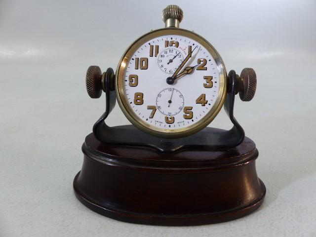 Swiss Made Pocket watch with Alarm on Mahogany base (no glass) A/F