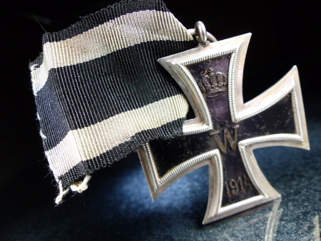"Nazi Cross Medal on Black ribbon marked 1813 and 1914 with a central ""W"""