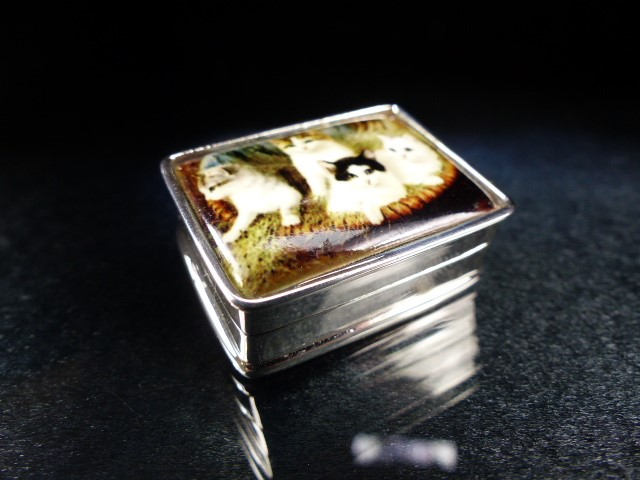 Silver pill box with enamel lid depicting cats - Image 3 of 4