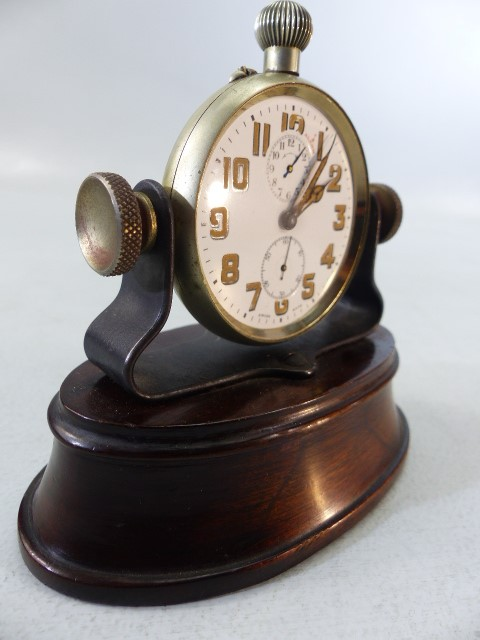 Swiss Made Pocket watch with Alarm on Mahogany base (no glass) A/F - Image 3 of 5