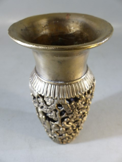 Chinese silver vase with pierced decoration depicting Chinese figures and blossom - Image 2 of 4