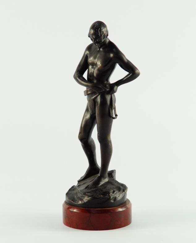 Lot 8 - After Schmidt. Felling, a cast bronze depiction of nude with belt, foundry marks depicting A K T.