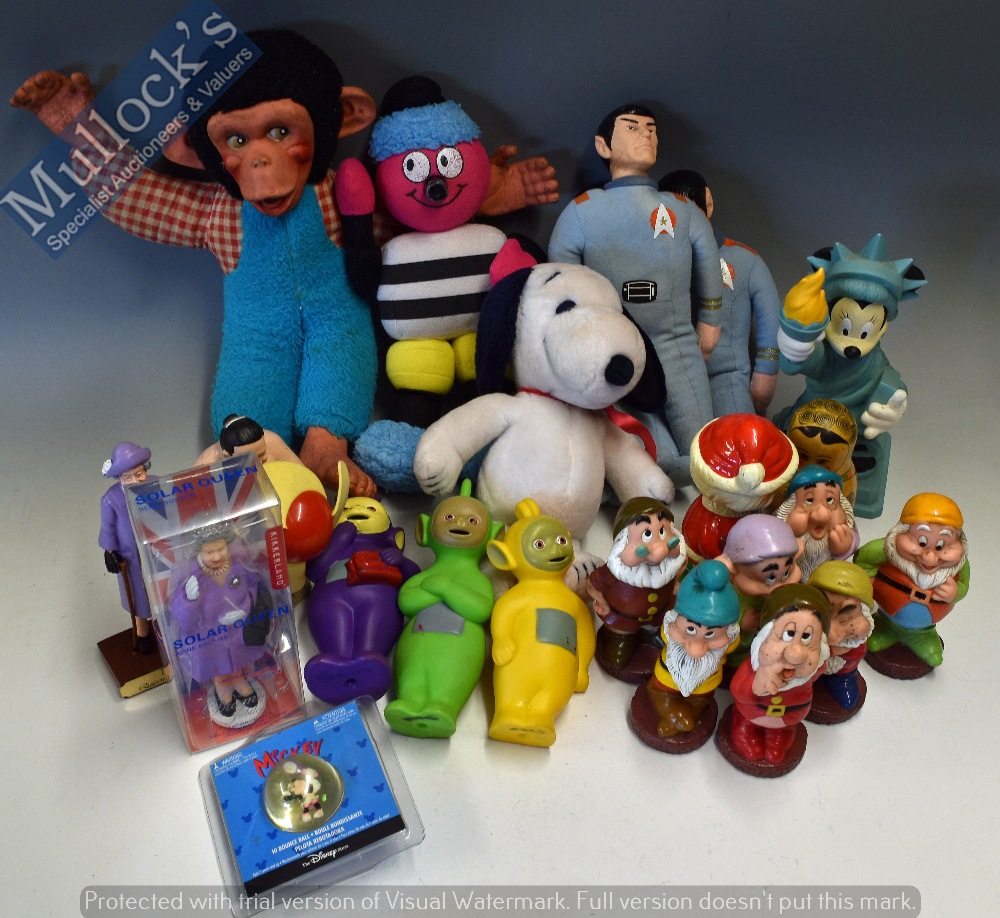 Lot 41 - Mixed Selection of Toys to include Star Trek Dolls, 1968 Snoopy, Monkey, Bassett Sweets, plus Disney