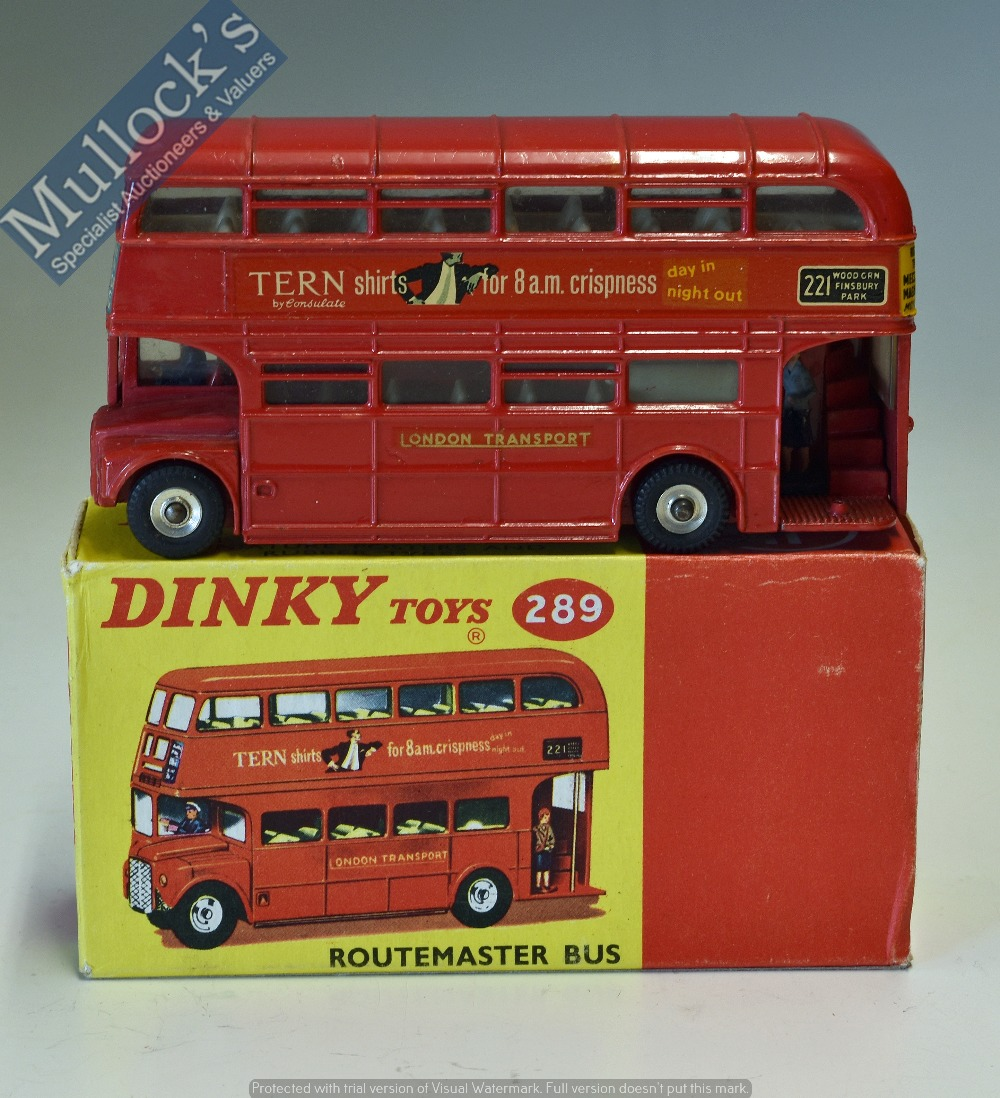 Lot 36 - Dinky Toys Diecast Model 289 Routemaster Bus 'Tern Shirts' and Kings Cross Decals, in red, in good