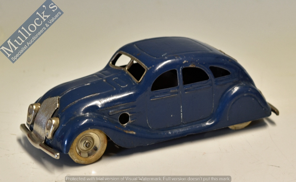 Lot 53 - Triang Minic Clockwork 'Sunbeam' Toy Car made in England in blue, without box, in good condition