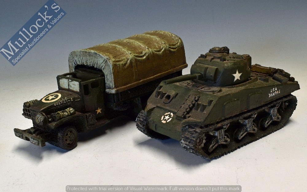 Lot 43 - Resin USA Military Models to include a Tank together with a Military Truck both appear in good
