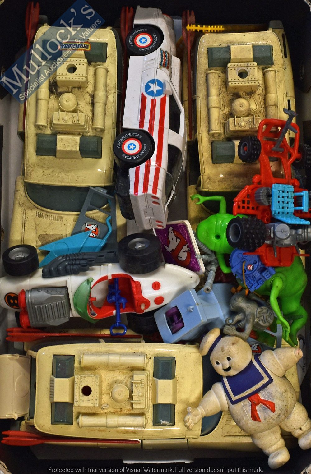 Lot 42 - Selection of Ghostbuster Plastic Toys to include 3x Ecto-1 models, Captain America model, various