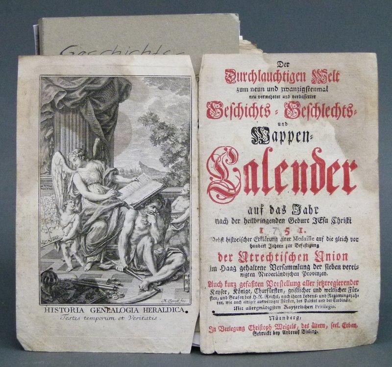 wappenbl tter geschichts geschlechts und wappen kalender auf das jahr 1751 weigel witwe. Black Bedroom Furniture Sets. Home Design Ideas