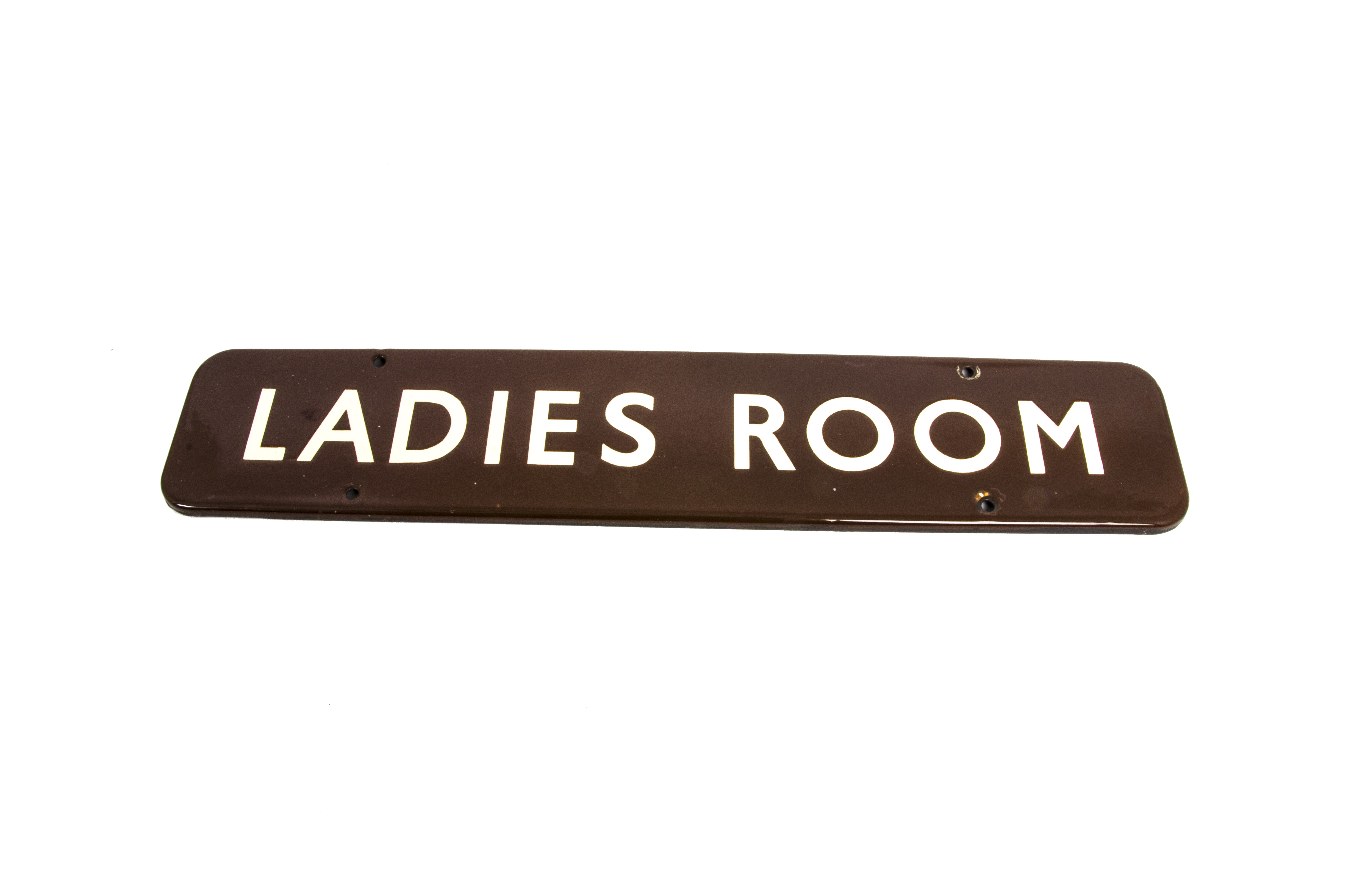 Lot 757 - Ladies Room Sign, a BR Western Region Worcester station enamelled sign, with white lettering on a