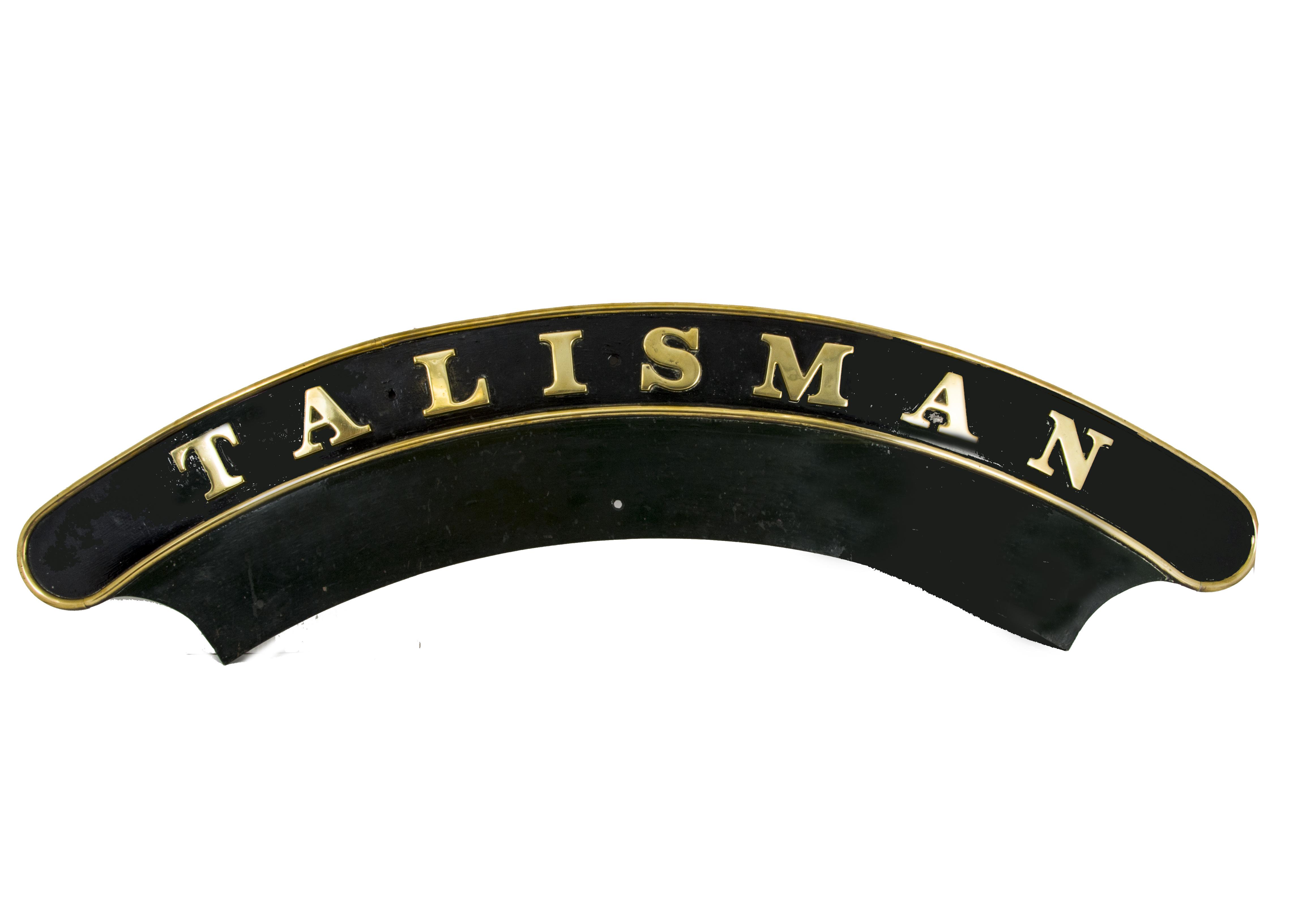 Lot 767 - An Original Great Western Railway 'Saint' Class Locomotive Nameplate 'Talisman', iron and brass,