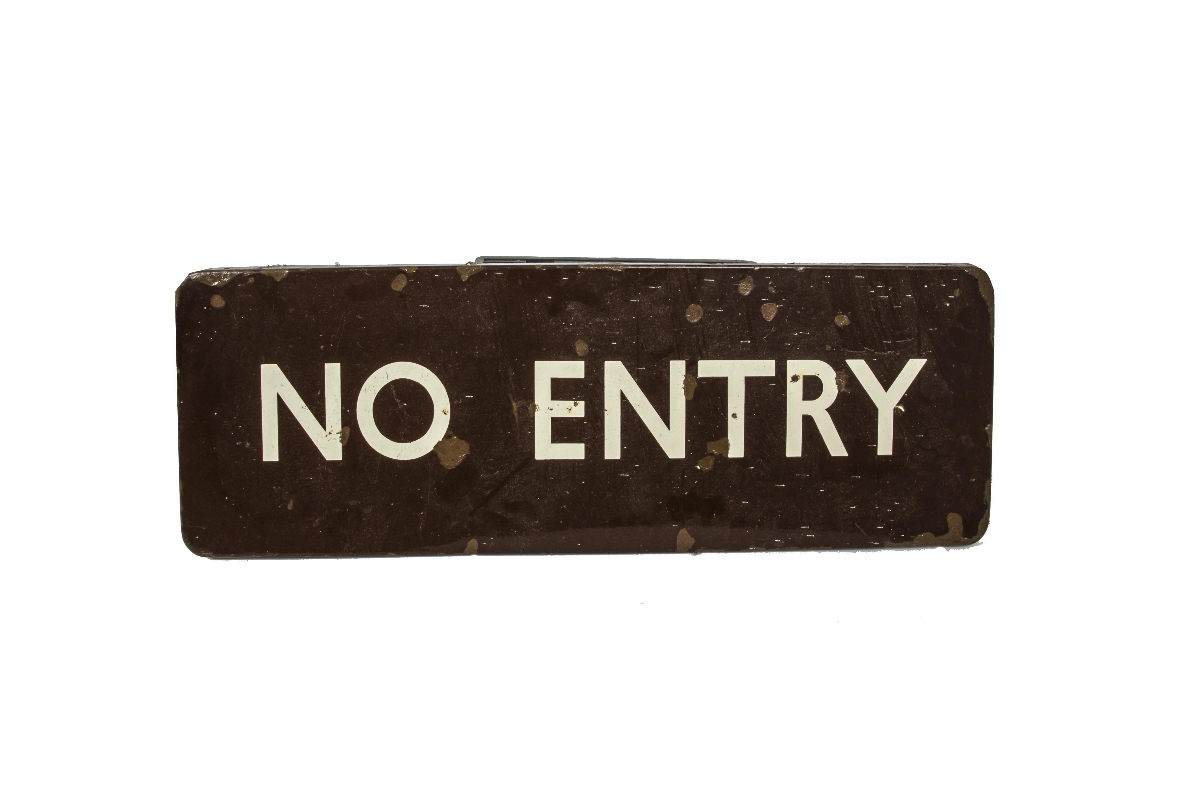Lot 763 - No Entry Sign, a BR Western Region enamelled sign with white lettering on a brown ground fully