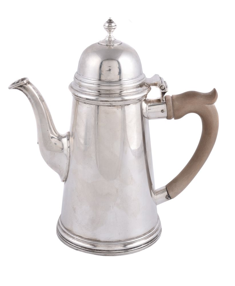 A silver straight-tapered coffee pot by C. J. Vander Ltd