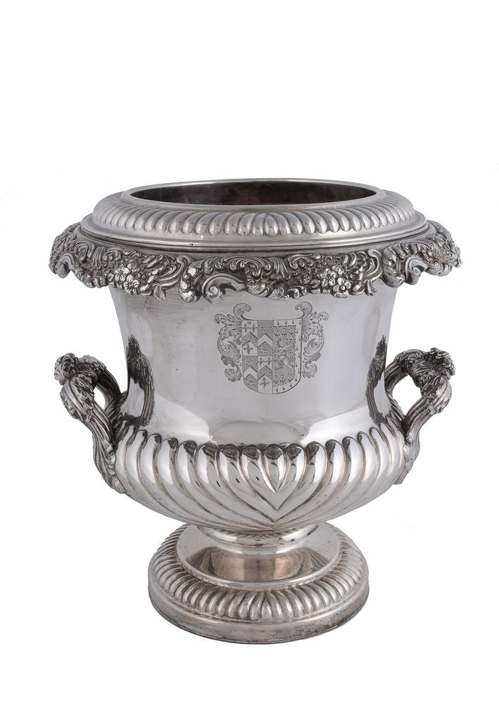 A George IV old Sheffield plate campana shaped wine cooler