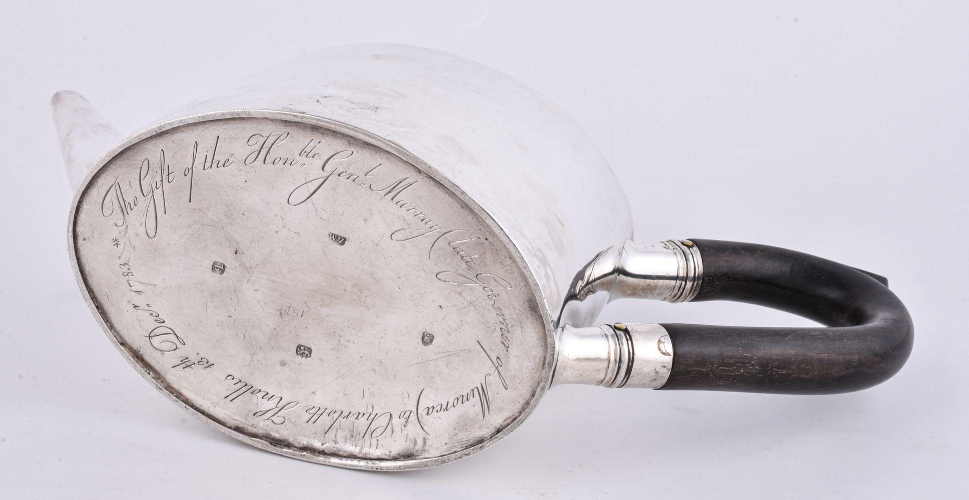ϒ [Military interest] A George III silver straight-sided oval tea pot by William Vincent - Image 2 of 2