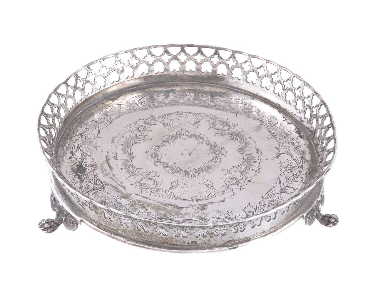 A Portuguese silver circular galleried stand