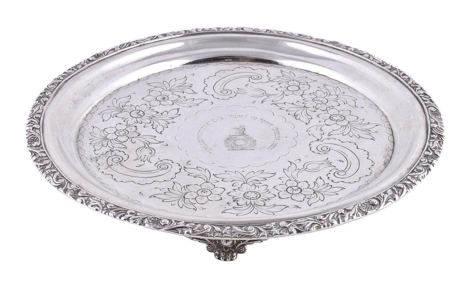 A George IV silver circular salver by Thomas Death