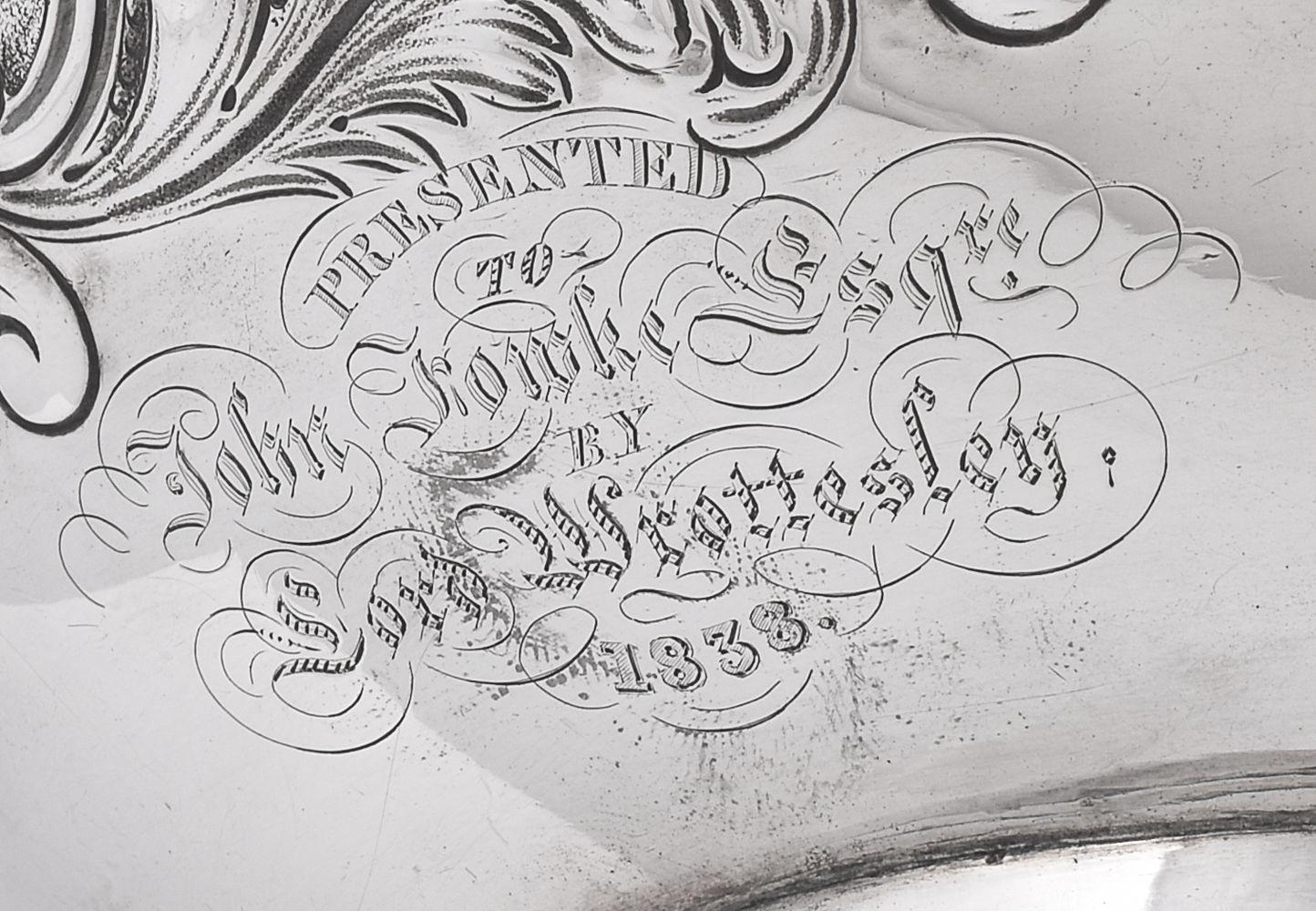 ϒ A William IV silver compressed spherical tea pot by J. Wrangham & William Moulson - Image 2 of 2