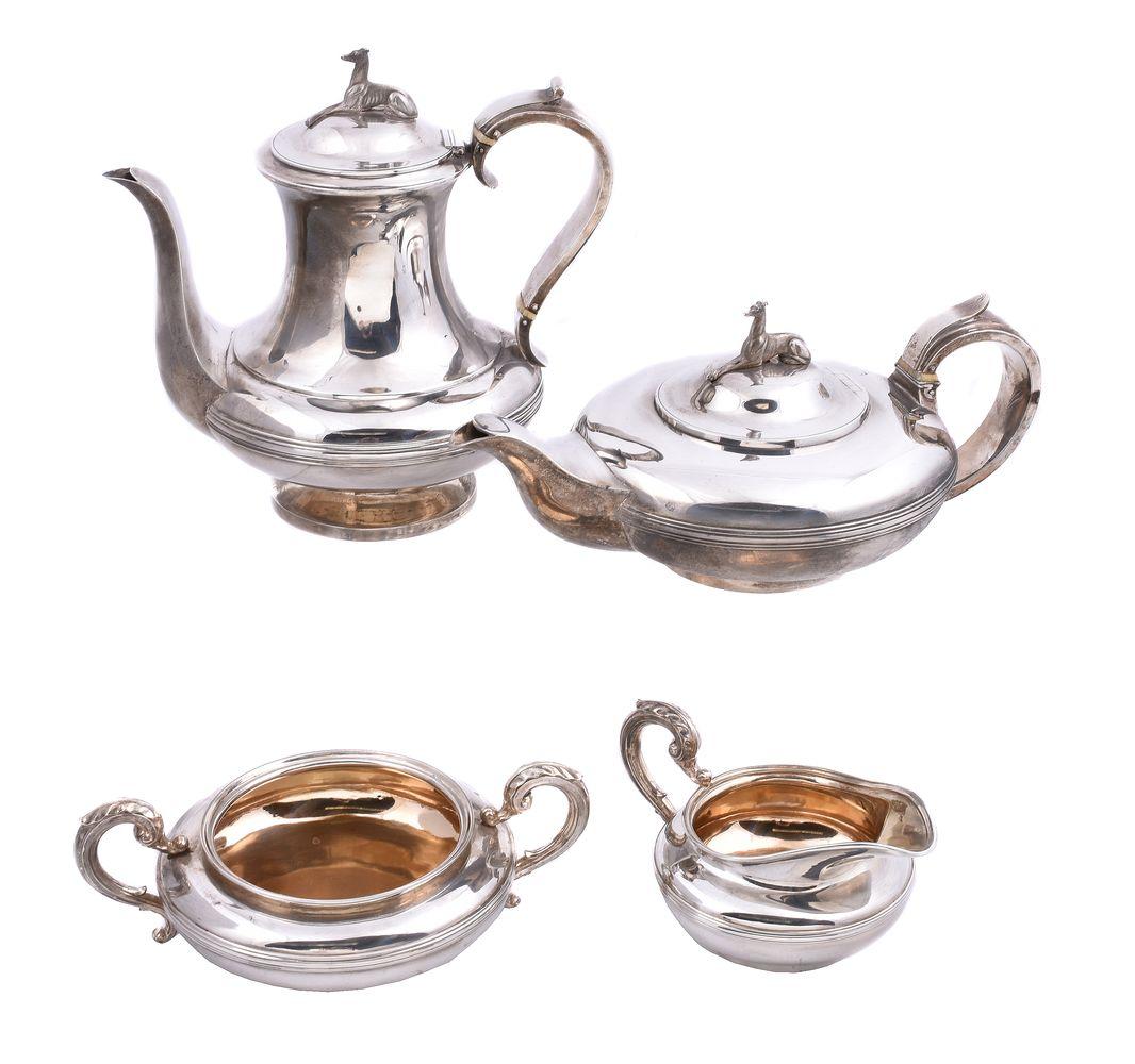 ϒ A matched George IV silver circular four piece tea and coffee service