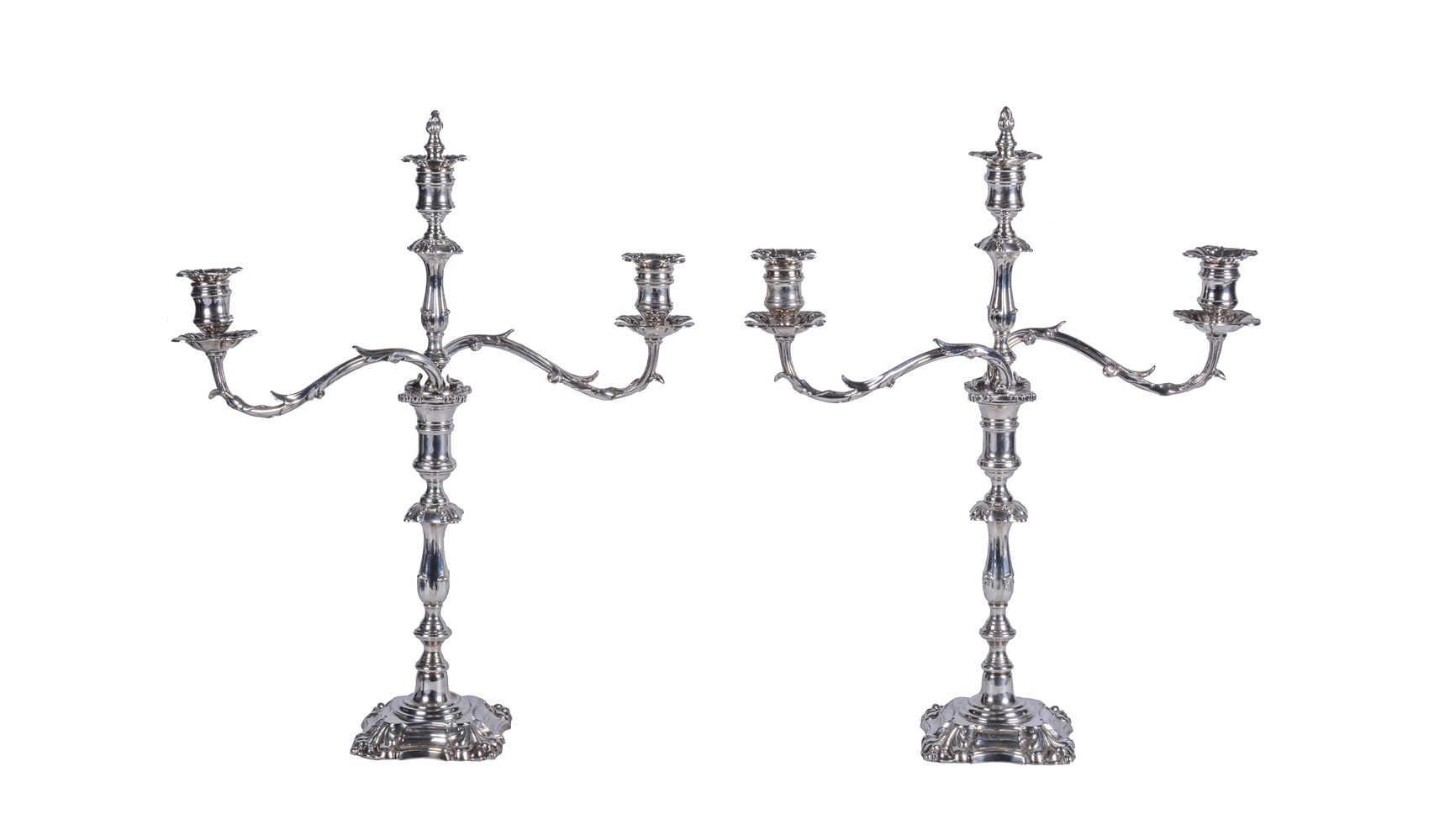 A pair of Edwardian electro-plated two branch three light candelabra by Elkington & Co.