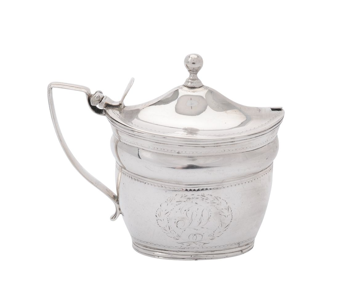 A George III silver oval mustard pot by William Abdy II