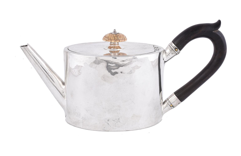 ϒ [Military interest] A George III silver straight-sided oval tea pot by William Vincent