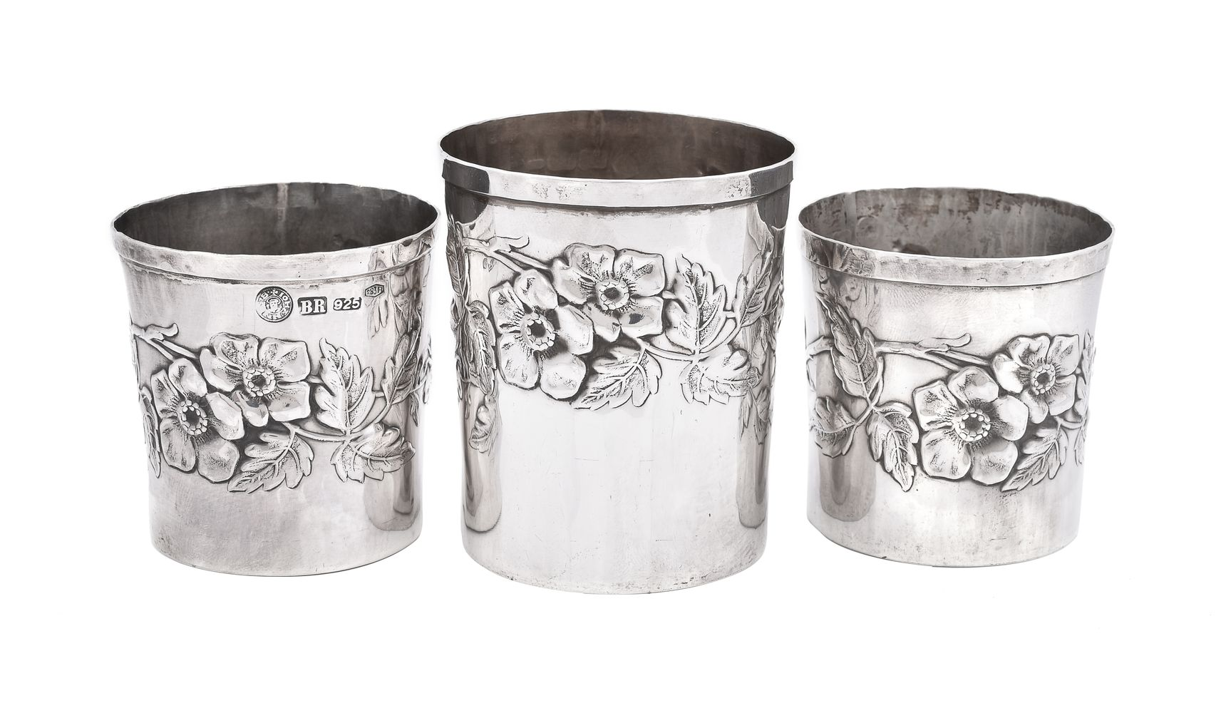 Three Italian silver coloured beakers by Brandimarte