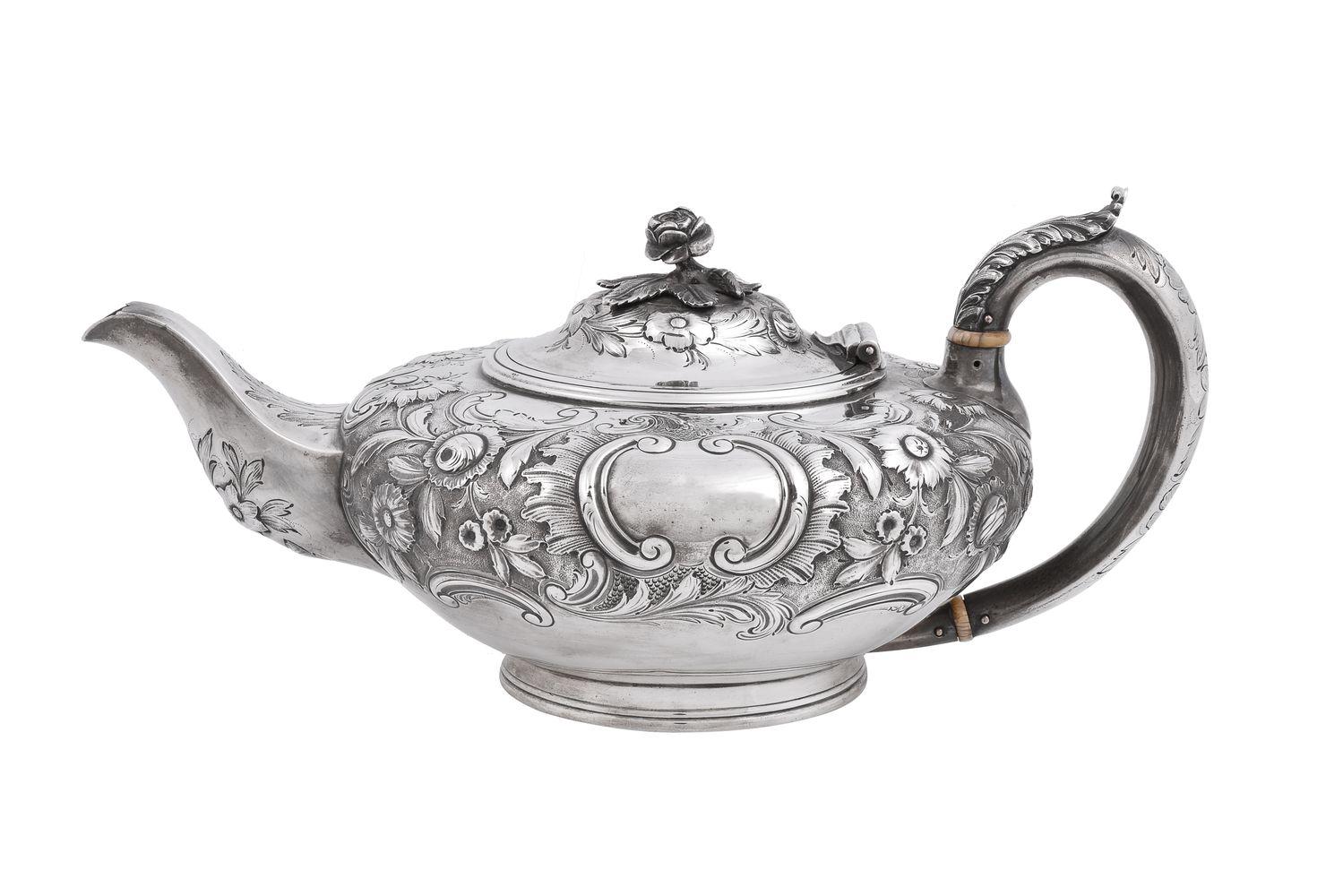 ϒ A William IV silver compressed spherical tea pot by J. Wrangham & William Moulson