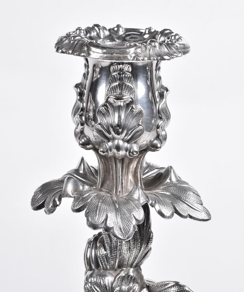 A pair of old Sheffield plate three light candelabra - Image 3 of 3