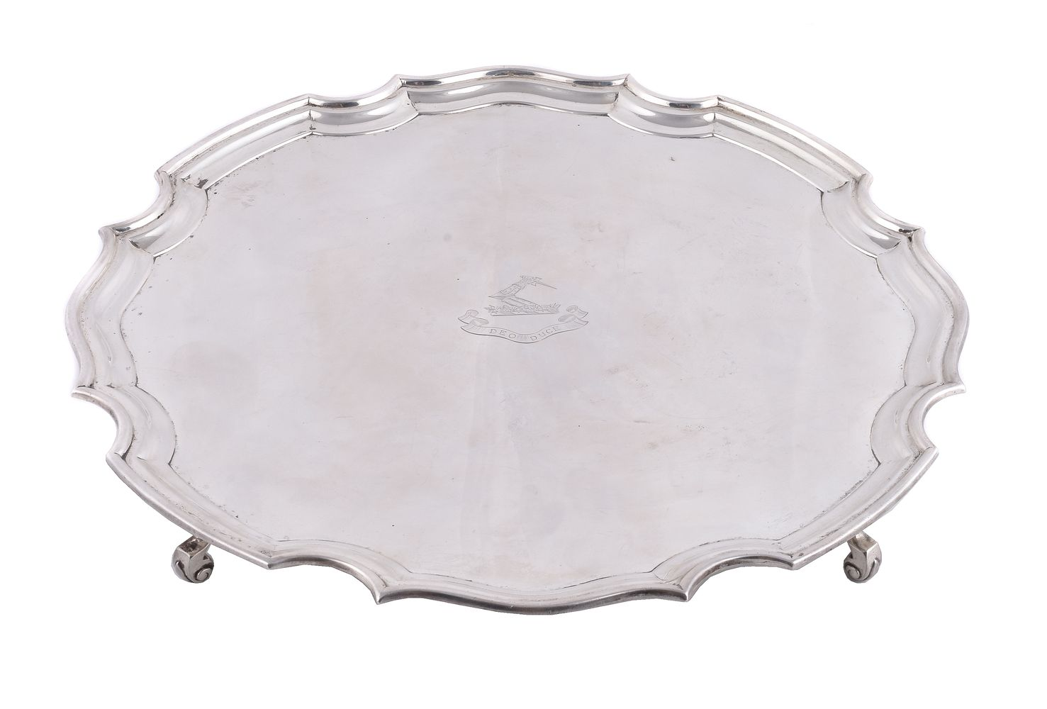 A silver shaped circular salver by Mappin & Webb