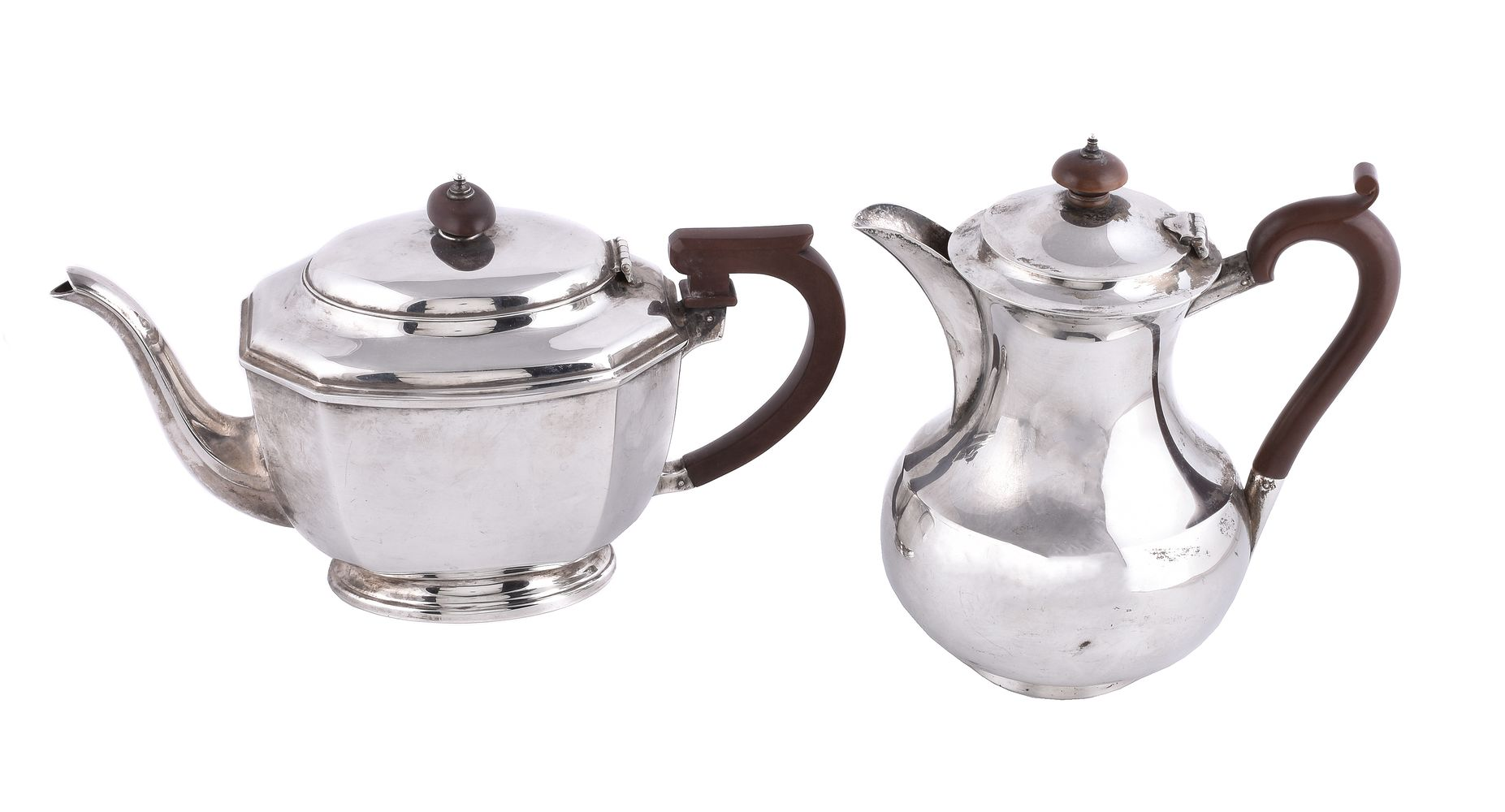 A silver canted rectangular tea pot by William Neale & Son Ltd