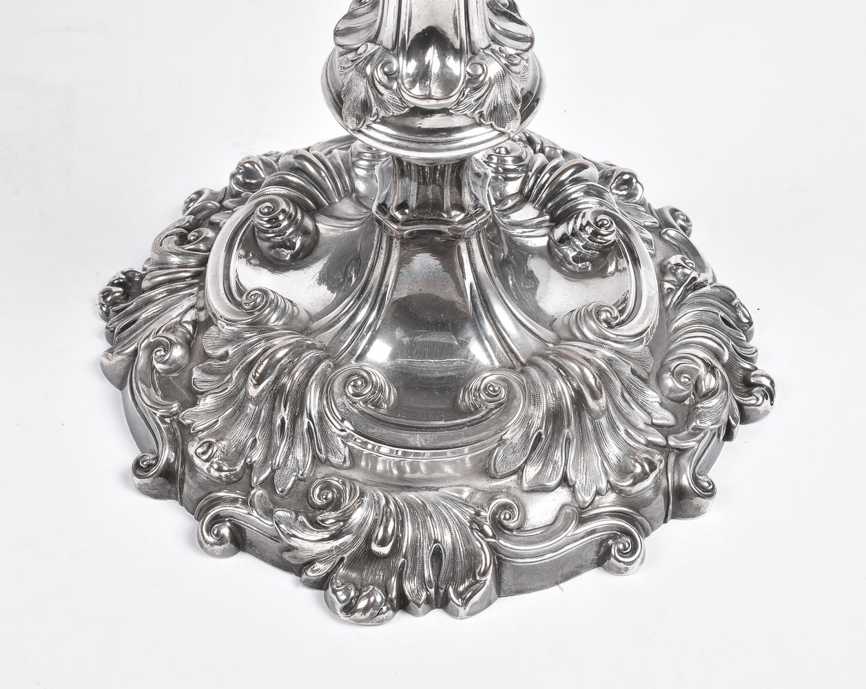 A pair of old Sheffield plate three light candelabra - Image 2 of 3