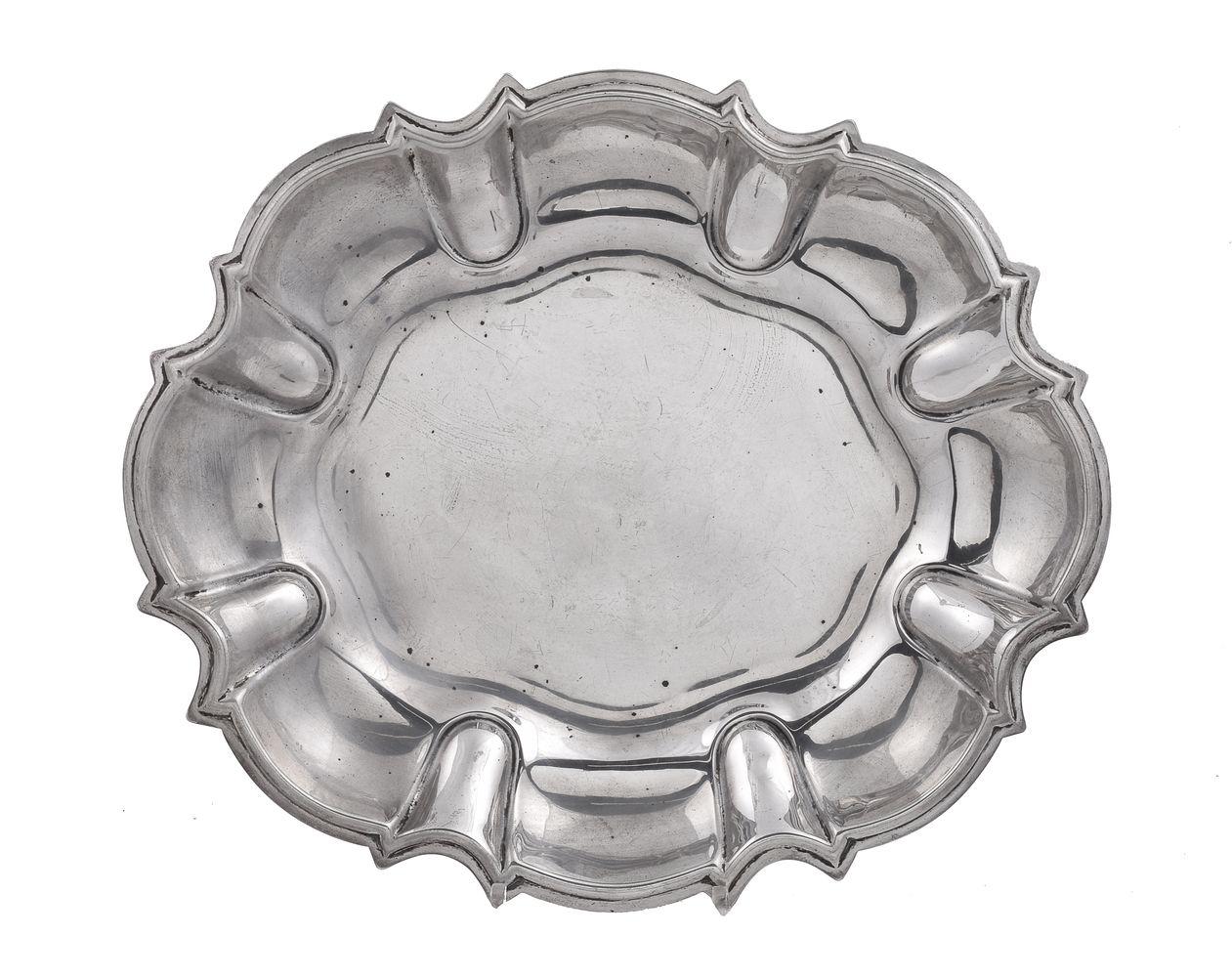 An Italian silver shaped oval dish