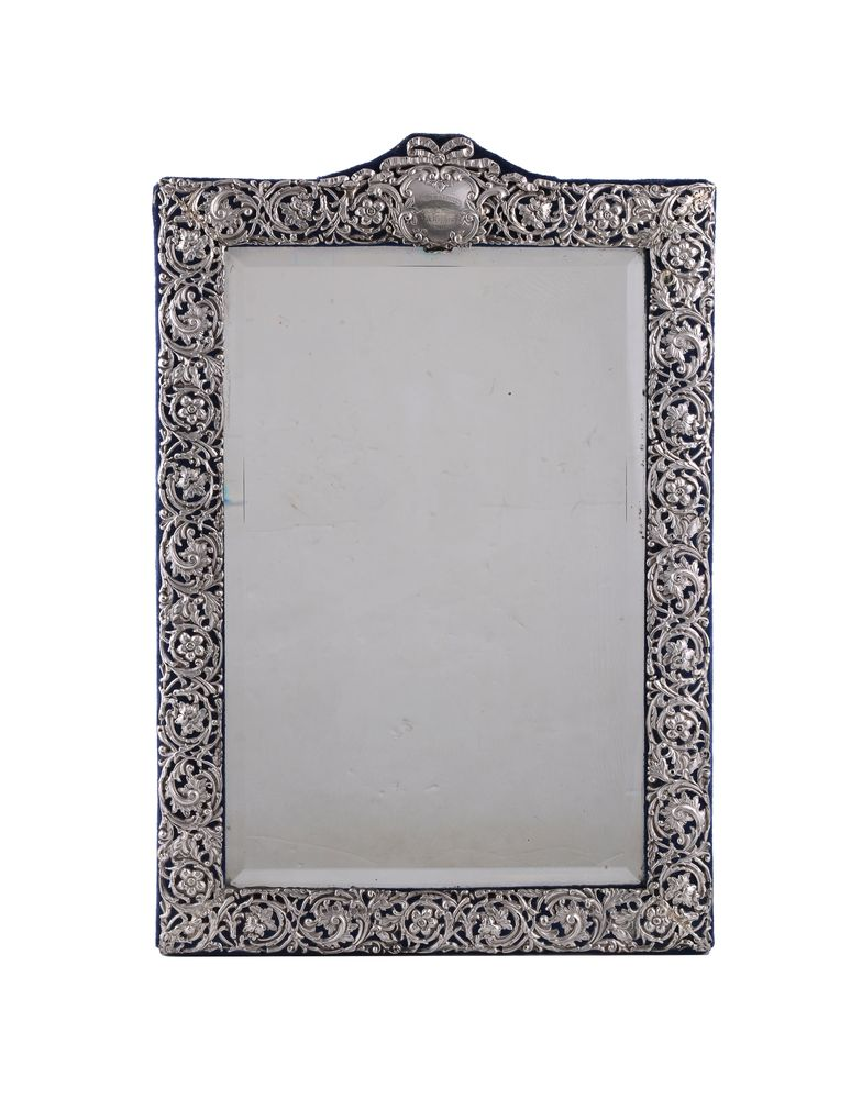 A late Victorian silver dressing table mirror by Henry Matthews