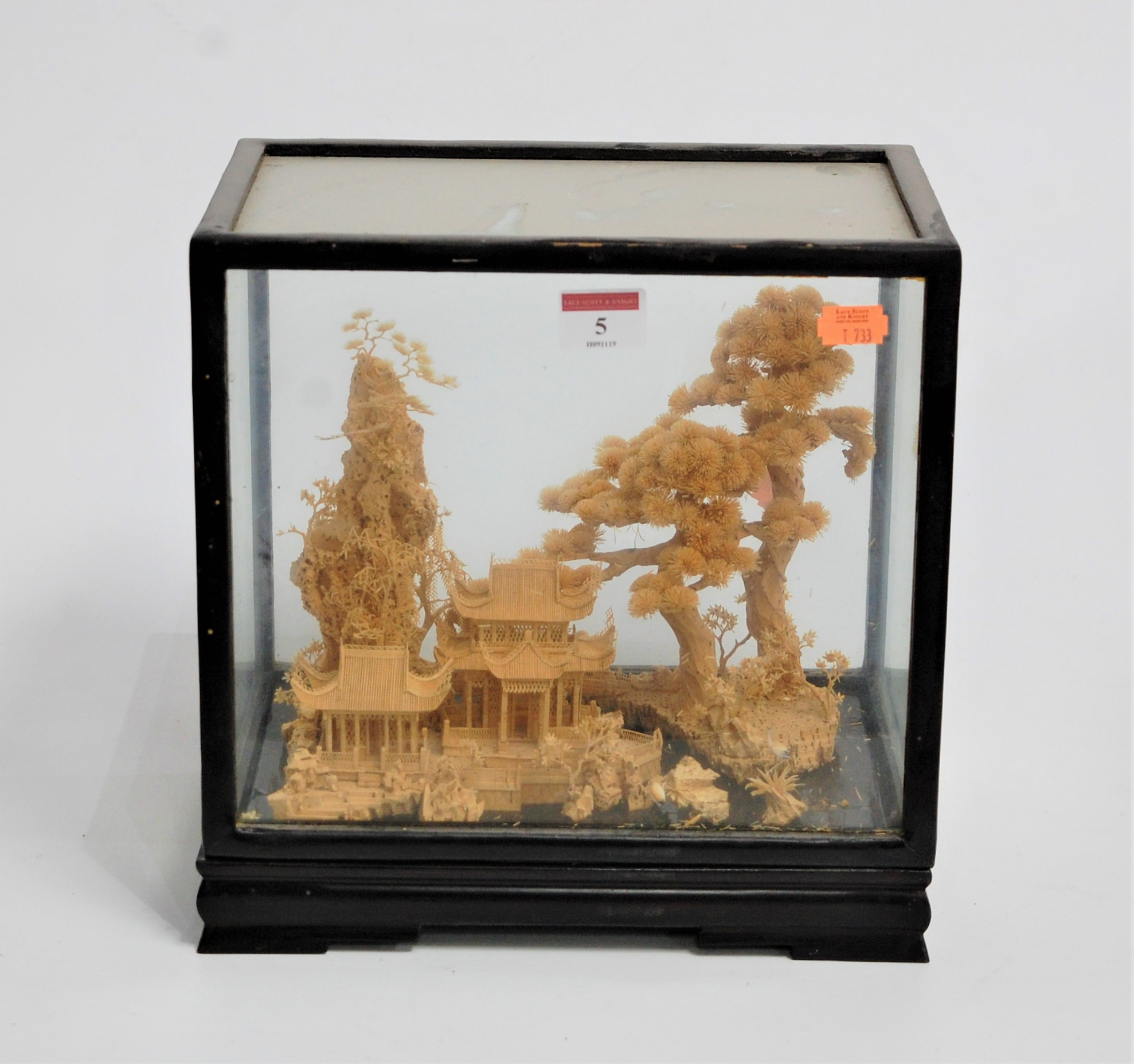 Lot 5 - An early 20th century Chinese cork diorama, carved with pagodas within landscape, case w.28cm, d.