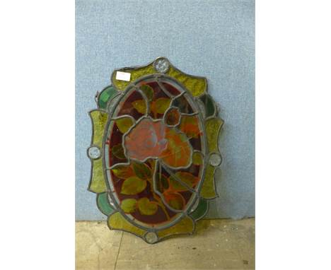 A stained glass hanging panel, a/f