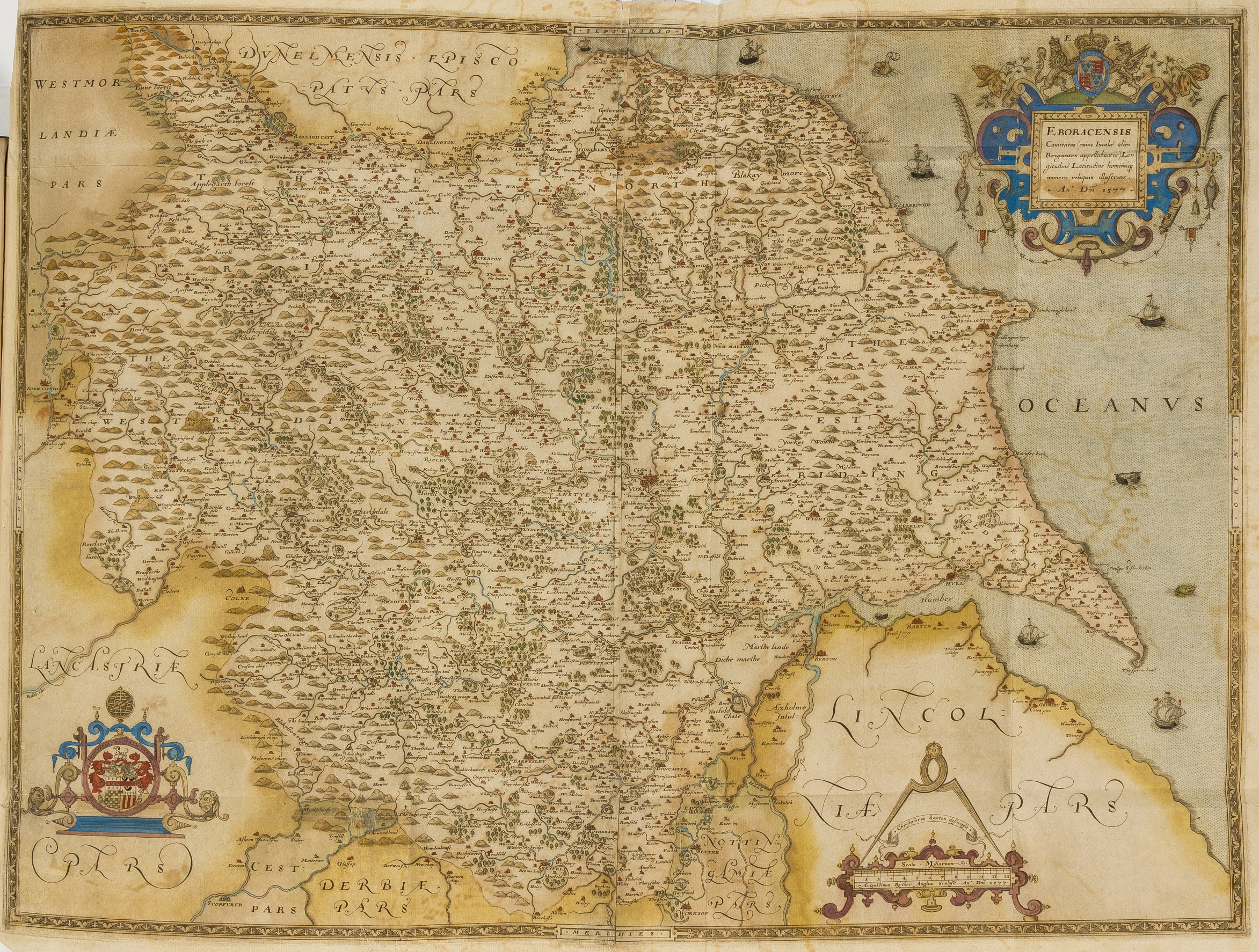 Lot 37 - Atlases.- Saxton (Christopher) [An Atlas of England and Wales], first edition, 34 hand-coloured …