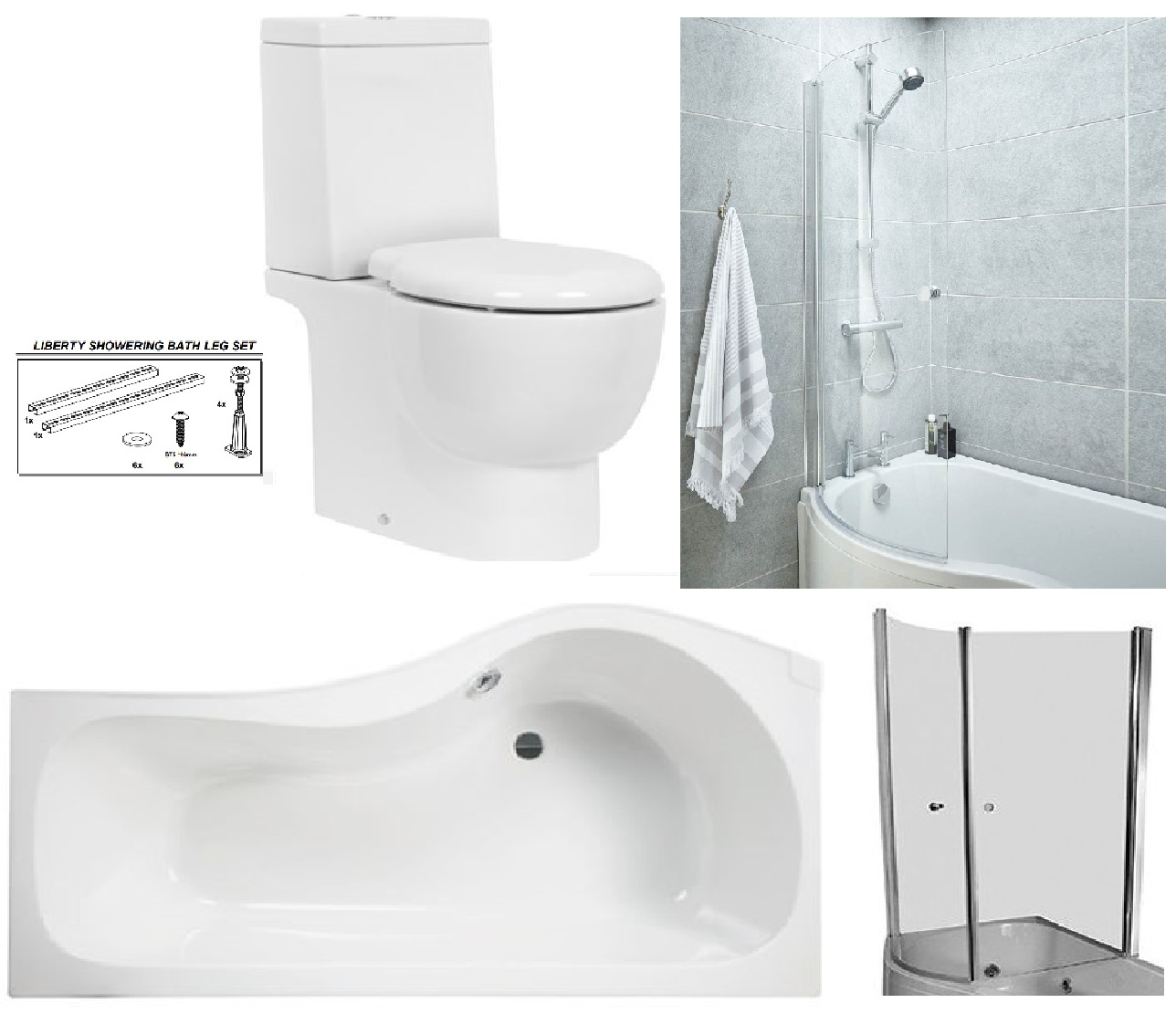 Bathstore 'Liberty' LEFT HANDED 1500mm re-enforced 'P' shower bath with curved pivot front bath