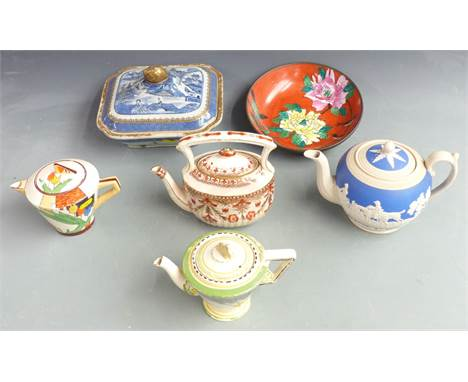 Russian enamelled porcelain dish with metal surround, four teapots including Copeland and Art Deco examples and a 19thC Chine