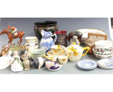 Ceramics and collectables including Crown Ducal Art Deco tea ware, studio pottery, Russian bear, Royal Doulton figures and fl