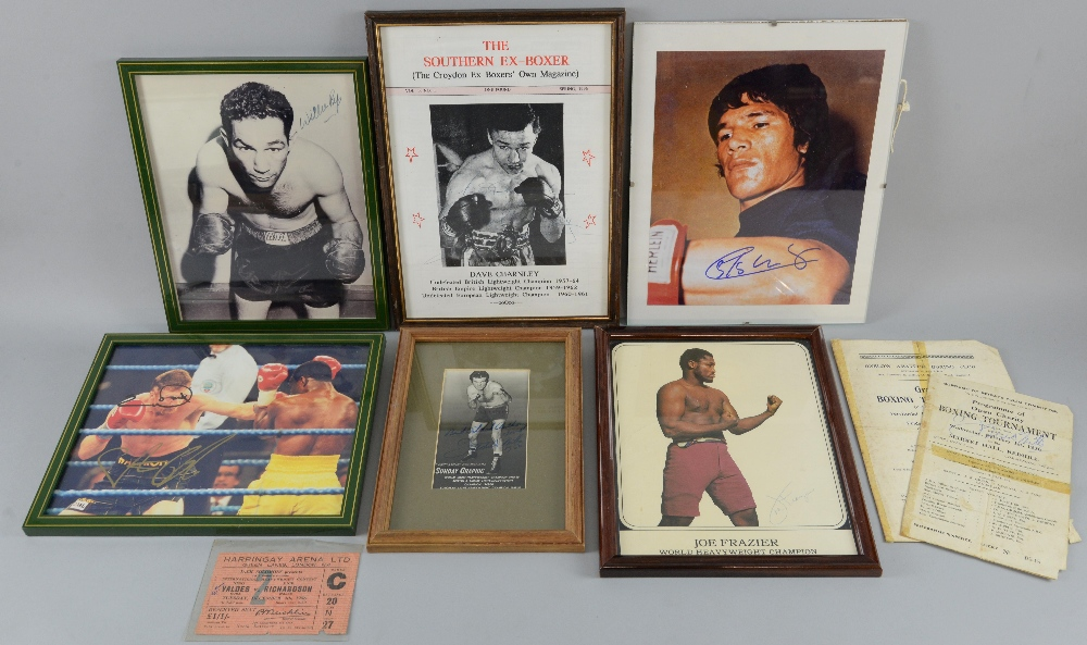 Lot 199 - Boxing - Signed photographs including Freddie Mills, Willie Pep, Joe Frazier, Carlos Monzon, Dave