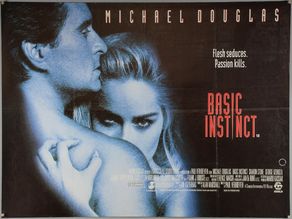 Three Thriller British Quad film posters, Basic Instinct, Blue ...