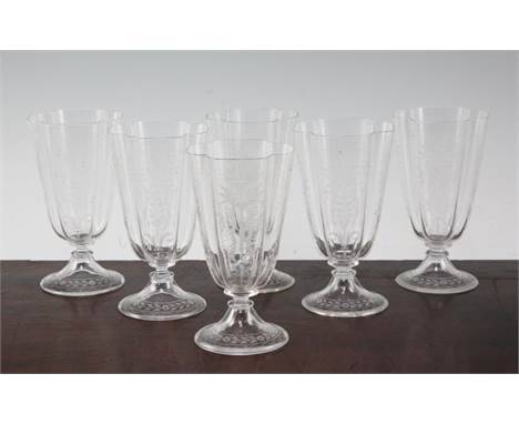 A set of six Lobmeyr quatre lobed drinking glasses, late 19th century, in Renaissance revival style, finely wheel engraved wi