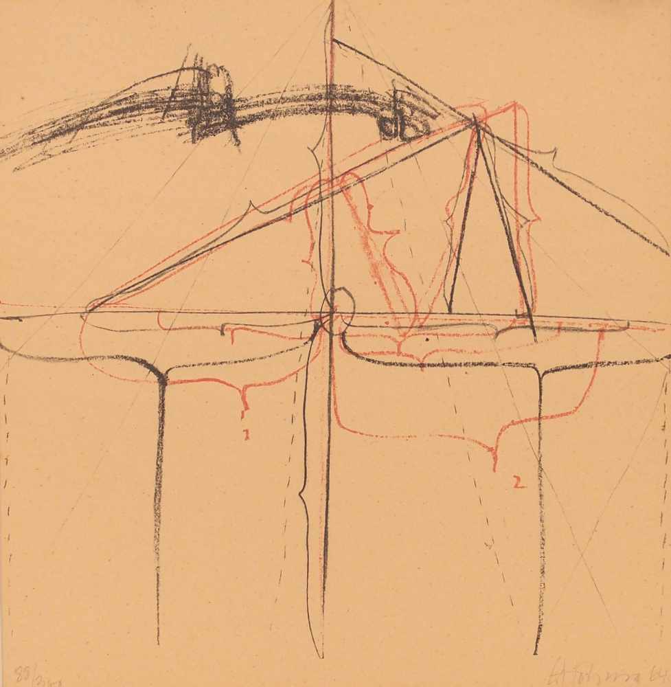 Gerhard HoehmeGreppin 1920 - 1989 NeussOhne Titel. Farb. Lithographie. 1964. 30,7 x 30,7 cm.