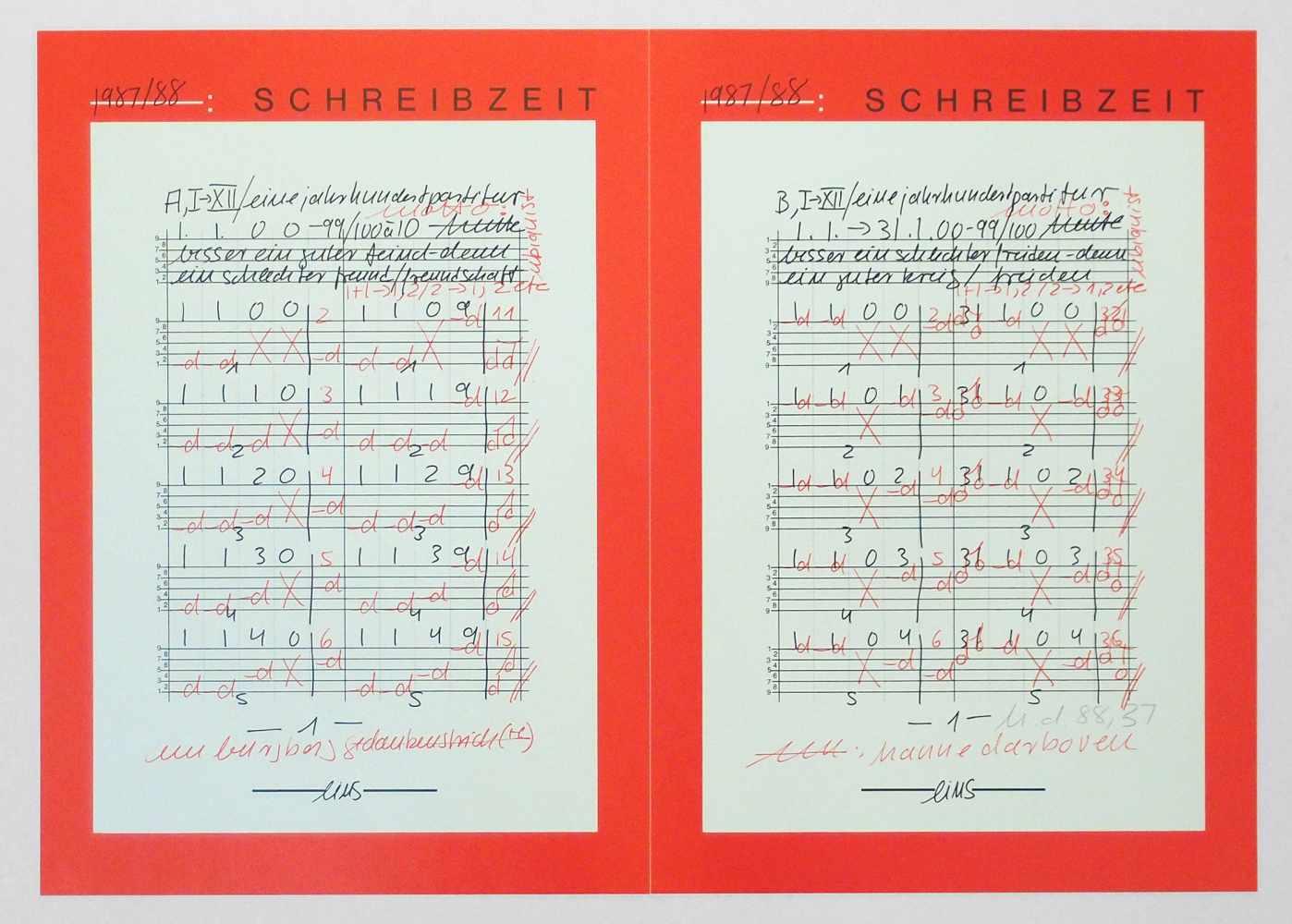 Lot 51 - Hanne DarbovenMünchen 1941 - 2009 HamburgEine Jahrhundertpartitur / Schreibzeit. Farb. Offset (