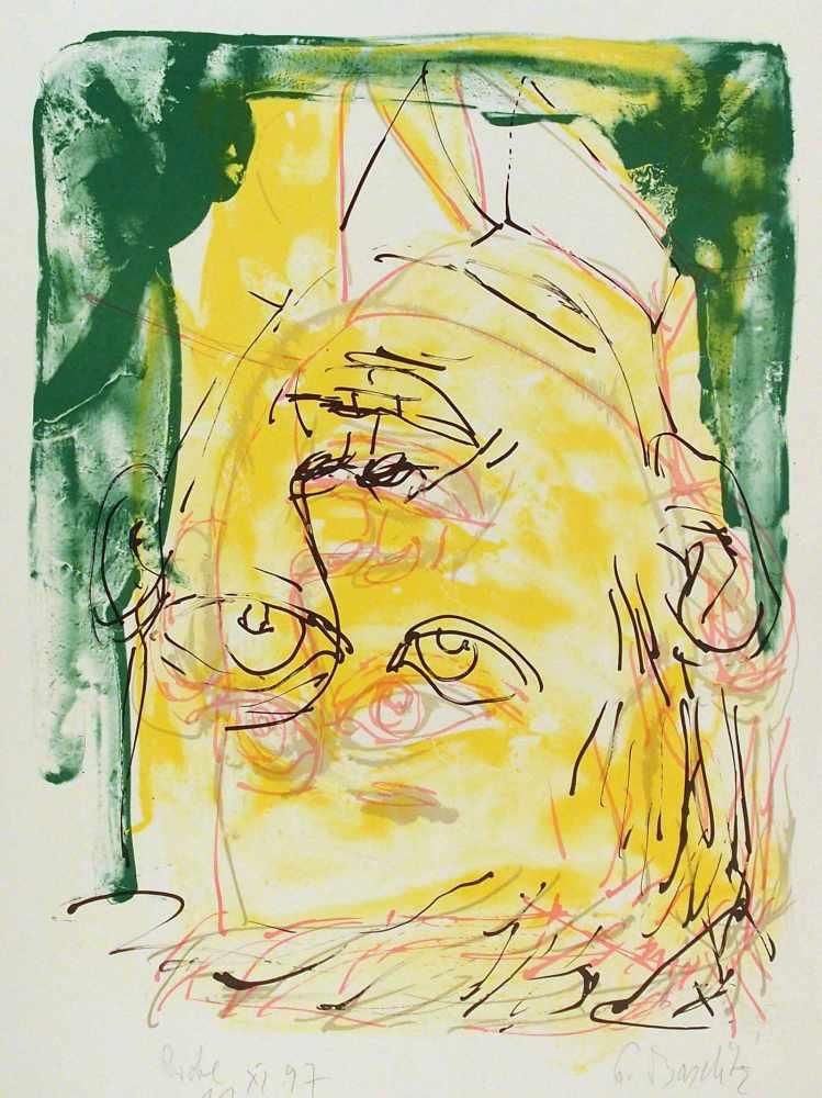Georg BaselitzDeutschbaselitz/Sachsen 1938 - lebt in SalzburgDreimalportrait. Farb. Lithographie.