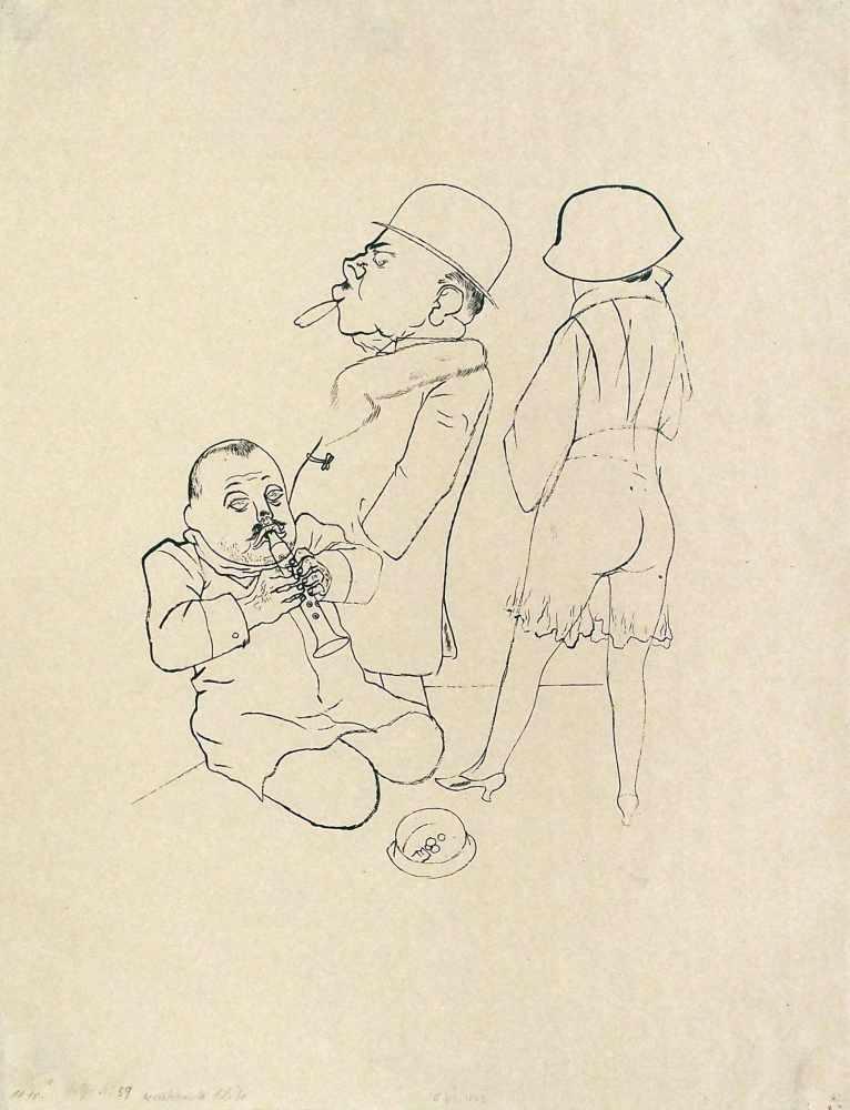 George GroszBerlin 1893 - 1959 BerlinVerstimmte Flöte. Lithographie. 1922. 40 x 33 cm. Signiert