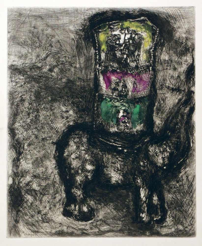 Lot 43 - Marc ChagallWitebsk 1887 - 1985 Saint-Paul-de-VenceLe Rat et l`Elephant. Kolorierte Radierung.