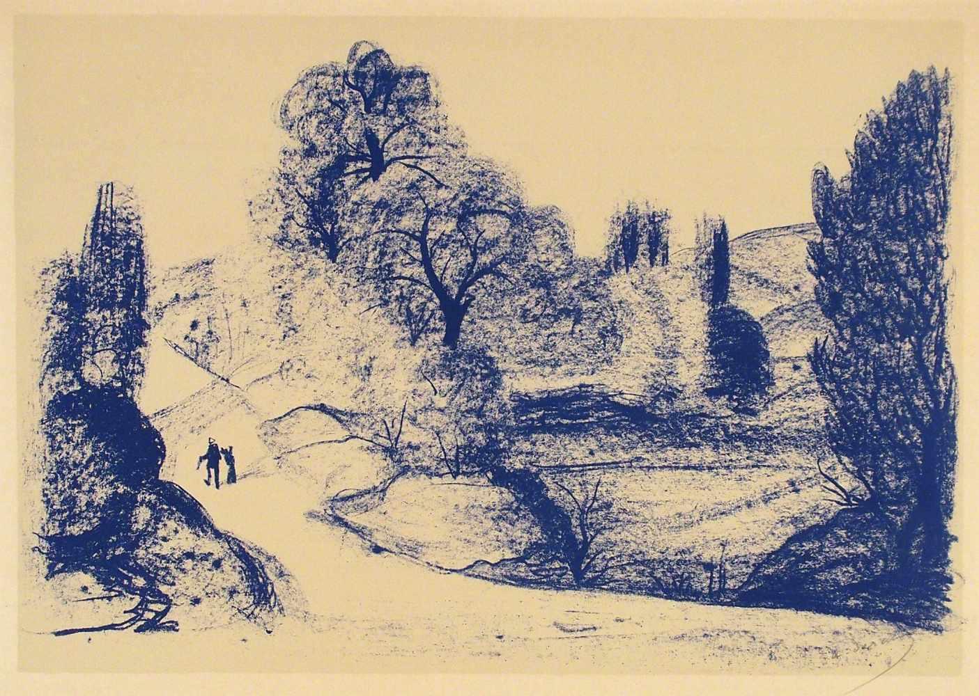 Lot 52 - André DerainChatou bei Paris 1880 - 1954 GarchesPaysage bleu. Lithographie. 1952. 39,7 x 57 cm (50,5